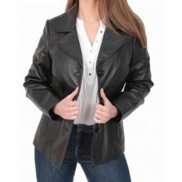 Ladies Classic Hip Length Black Leather Blazer Coat