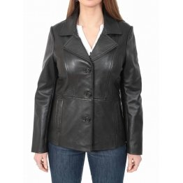 Ladies Classic Hip Length Black Leather Blazer Coat Jacket