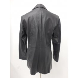 Ladies Classic Premium Three Button Black Leather Coat