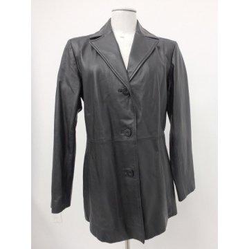 Ladies Classic Premium Three Button Black Leather Coat