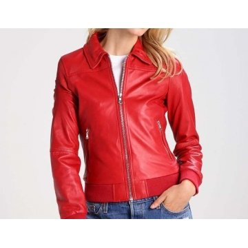 Ladies Classic Pure Red Leather Flight Bomber Jacket