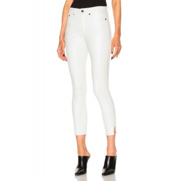 Ladies Cool Skinny White Leather Capri Pants Jeans With Slit