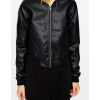 Ladies Custom Genuine Lambskin Black Leather Bomber Style Jacket