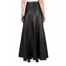 Ladies Long Slim fit Genuine Soft Lambskin Black Leather Skirt