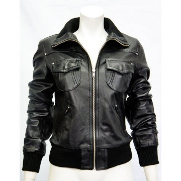 Ladies Premium Nappa Black Leather Bomber Jacket