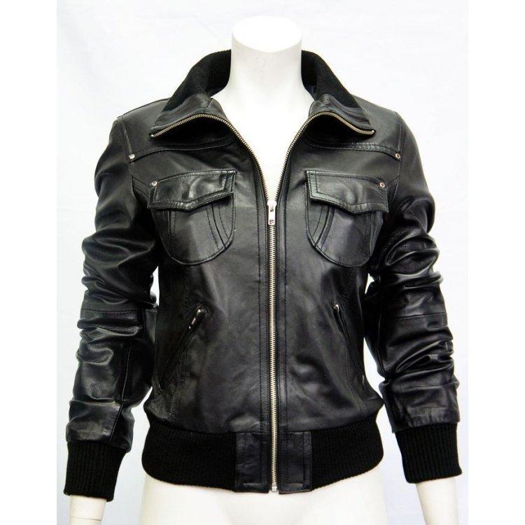 Ladies Premium Nappa Black Leather Bomber Jacket