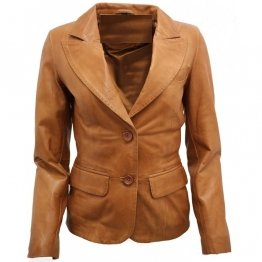 Ladies Simple Casual Tan Brown Leather Blazer Jacket