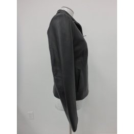 Ladies Simple Front Zip Pure Black Leather Coat