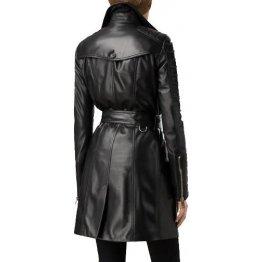 Ladies Vintage Genuine Black Leather Outerwear Trench Coat