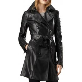 Ladies Vintage Genuine Black Leather Outerwear Trench Coat