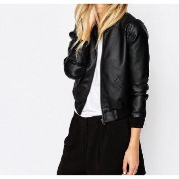 Ladies Black Leather Bomber Jacket
