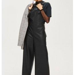 Ladies Customized Elegant Black Leather Wide Leg Jumpsuit