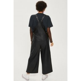 Ladies Customized Elegant Black Leather Wide Leg Jumpsuit