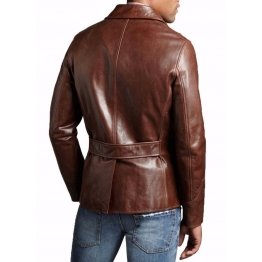 Men's Genuine soft Lambskin Leather Brown Blazer Jacket