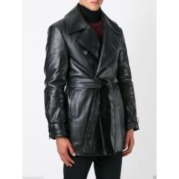 Men's Genuine Real Soft Black Leather Long Jacket Trench Coat