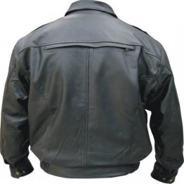 Men's Neck Warmer Vented Black Leather Bomber Jacket