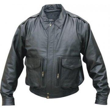 Men's Neck Warmer Vented Black Leather Bomber Jacket