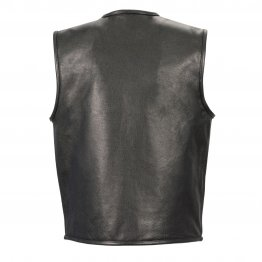 Men's Seamless Design Zipper Front Black Leather Vest