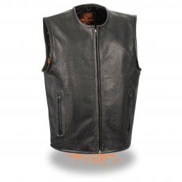 Men's Seamless Design Zipper Front Black Leather Vest