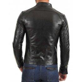 Men's Slim Fit Black Leather Coat Jacket