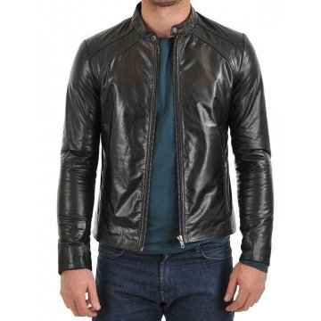 Men's Slim Fit Black Leather Biker Motorcycle Coat Jacket