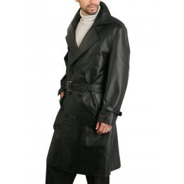 Classic Men's Genuine Leather Trench Coat