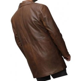 Mens Distressed Real Sheepskin Brown Long Leather Coat