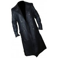 Mens Army Style Genuine Sheepskin Black Leather Long Trench Coat