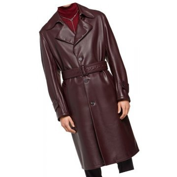 Mens Belted Real Sheepskin Burgundy Long Leather Trench Coat