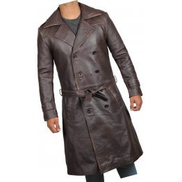 Mens Classic  Real Sheepskin Distressed Brown Long Leather Trench Coat
