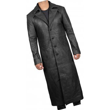 Mens Classic Real Sheepskin Black Long Leather Trench Coat