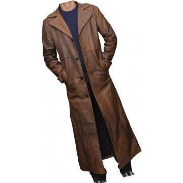 Mens Distressed Real Sheepskin Brown Long Leather Trench Coat