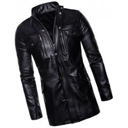 Mens Edgy Genuine Sheepskin Black Leather Long Trench Coat