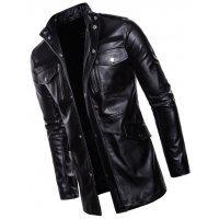 Mens Edgy Genuine Sheepskin Black Leather Long Trench Coat