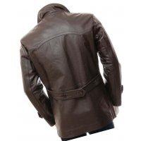 Mens Elegant style Real Sheepskin Dark Brown Long Leather Coat