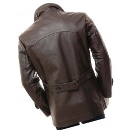Mens Elegant style Real Sheepskin Dark Brown Long Leather Coat