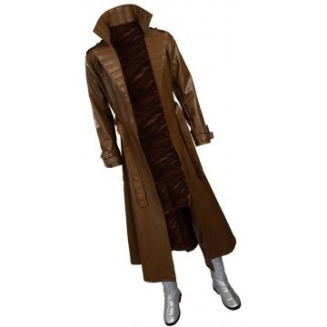 Mens Gambit Style Real Sheepskin Brown Long Leather Trench Coat