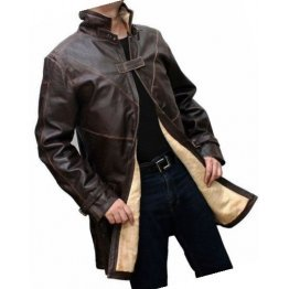 Mens Glamorous Real Sheepskin Distressed Brown Long Leather Trench Coat