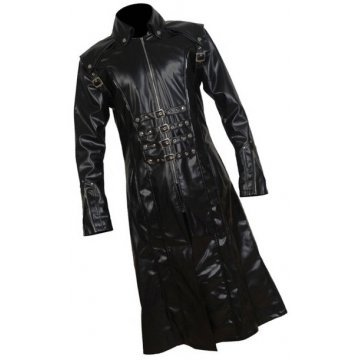 Mens Gothic Genuine Sheepskin Black Leather Long Trench Coat