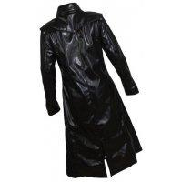 Mens Gothic Genuine Sheepskin Black Leather Long Trench Coat