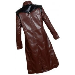 Mens Gothic Genuine Sheepskin Brown Leather Long Trench Coat