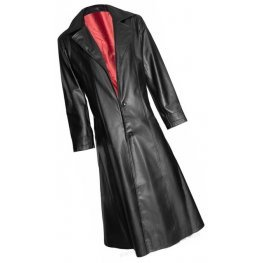 Mens Gothic Style Real Sheepskin Black Leather Long Trench Coat