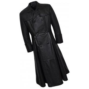 Mens Impressive Style Genuine Sheepskin black Leather Long Trench Coat
