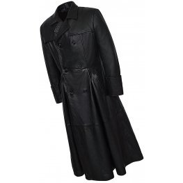 Mens Impressive Style Genuine Sheepskin black Leather Long Trench Coat