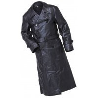 Mens Military Style Genuine Sheepskin Black Leather Long Trench Coat