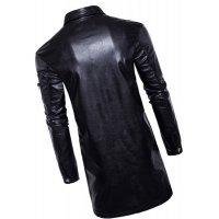 Mens New Fashion Real Sheepskin Black Leather Coat