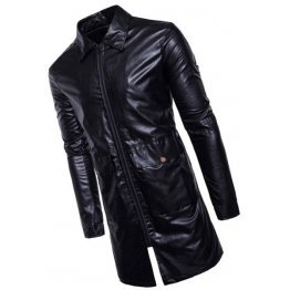 Mens New Fashion Real Sheepskin Black Leather Coat