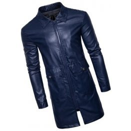 Mens New Fashion Real Sheepskin Blue Leather Coat
