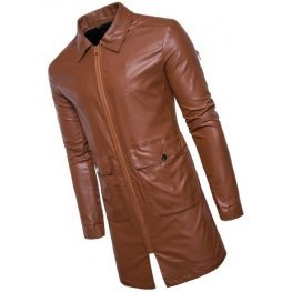Mens New Fashion Real Sheepskin Brown Leather Coat