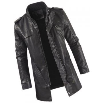 Mens Smart Look Genuine Sheepskin Black Leather Long Trench Coat